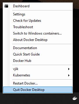 Контекстное меню Docker Desktop