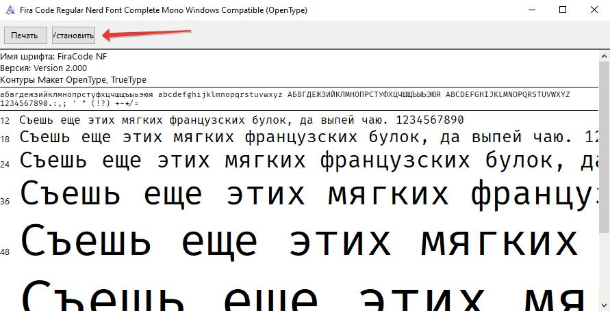 Установка шрифта Fira Code Nerd Font